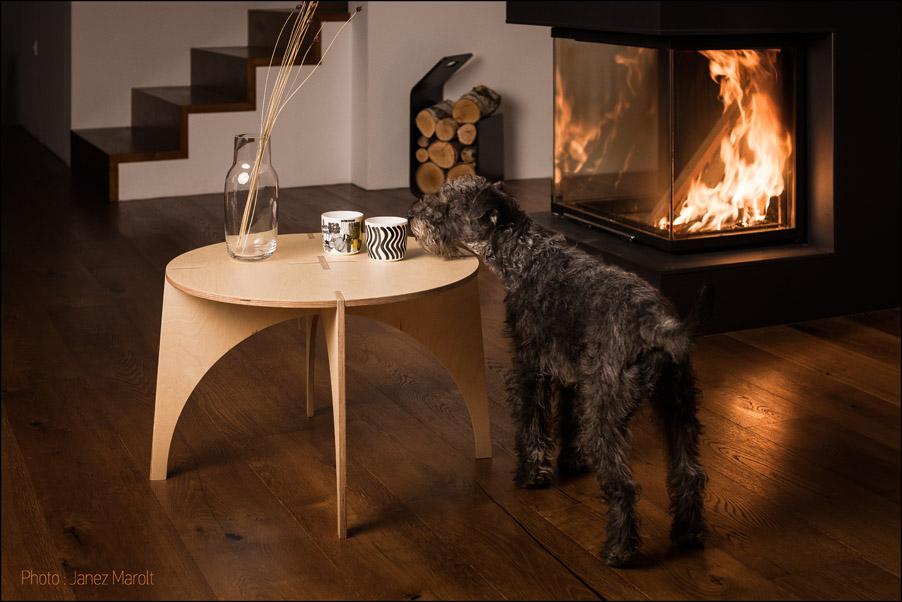 Sestavljiva lesena mizica avtorje Veronike Ule in Andija Kodra s psom ob kaminu