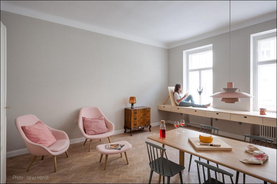 Kombinat arhitekti - stanovanje na Dunaju - osrednji prostor