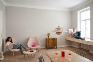 Kombinat arhitekti - stanovanje na Dunaju - dnevna soba z jedilnico