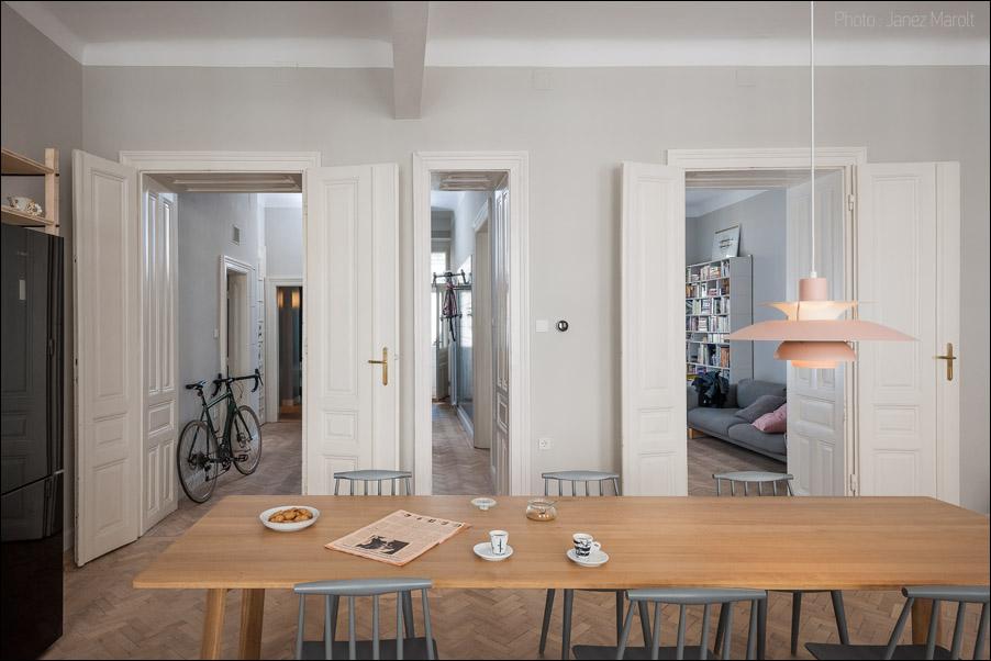 Kombinat arhitekti - stanovanje na Dunaju - odprtost prostora