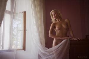 Boudoir / akt fotografija lepe mlade s tančico dame ob oknu